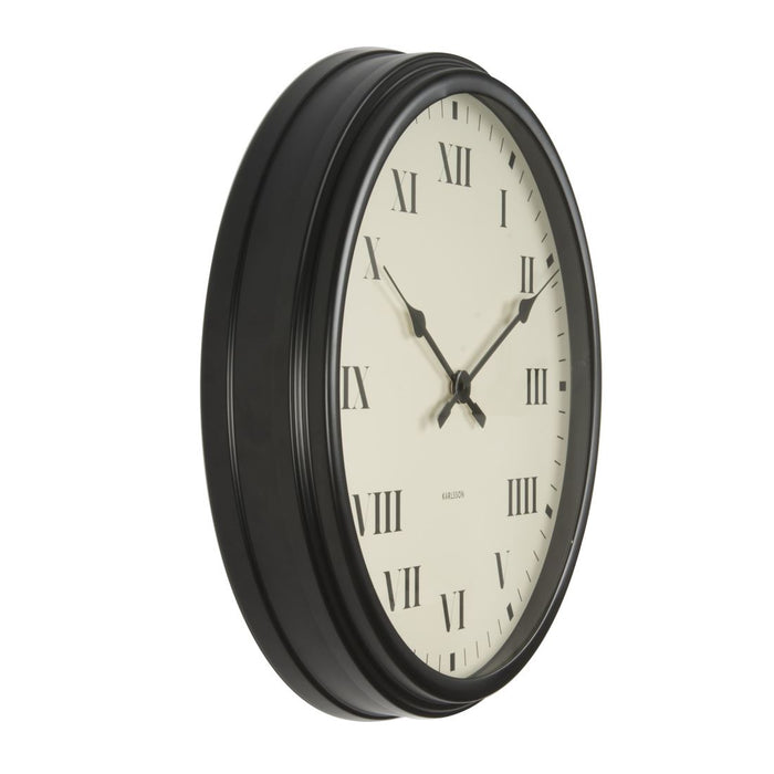 Karlsson Old Times Black Roman Numerals 56.5cm Wall Clock