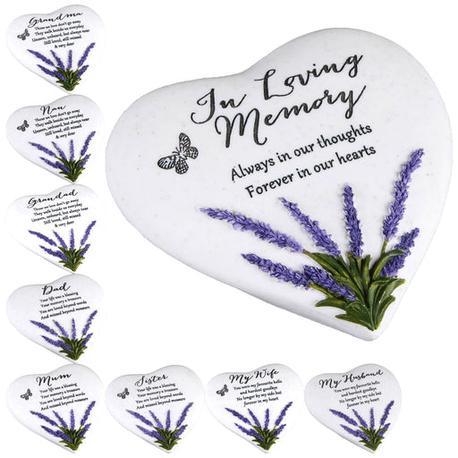 Thoughts Of You Heart Stone & Lavender Graveside Memorial