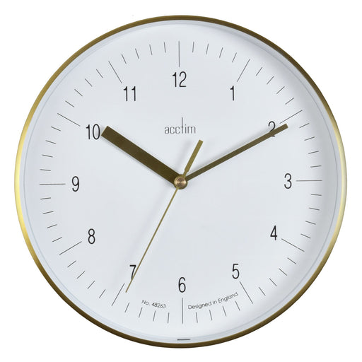 Acctim Stetson Brass & White 20cm Wall Clock