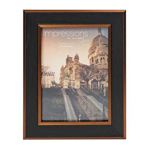 Impressions Black & Bronze Wood Effect Photo Frame