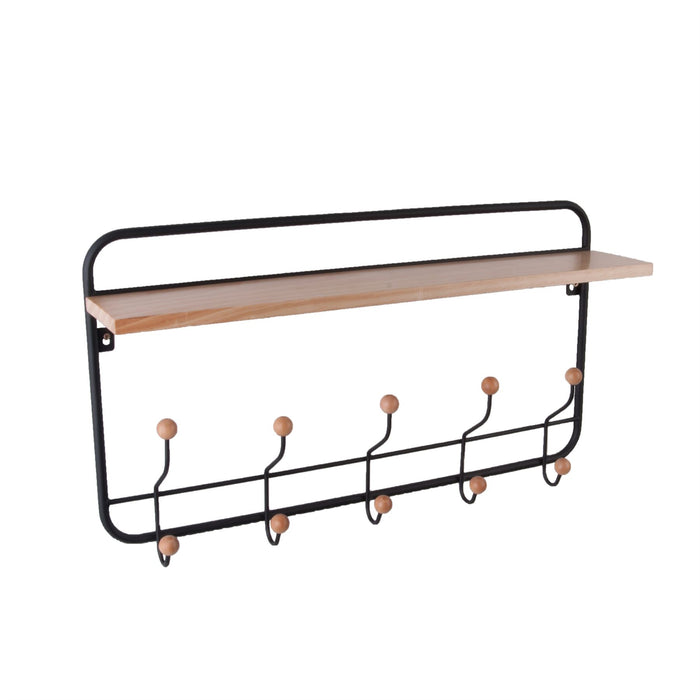 Present Rack Iron & Wood Shelf Coat & Hat Hanger