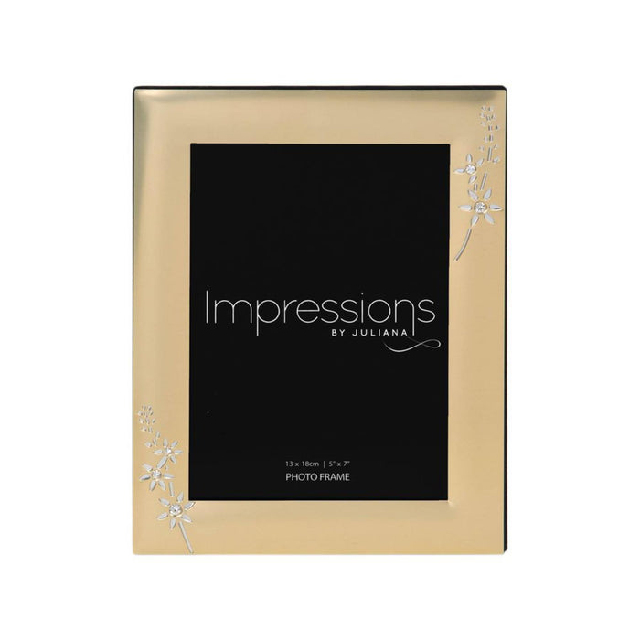 Impressions Gold Finish with Crystal Flowers Photo Frame