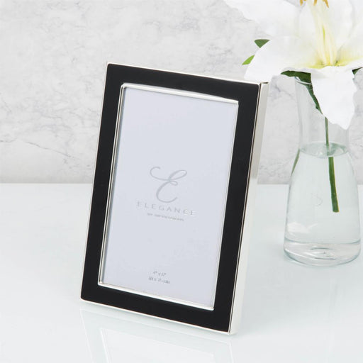 Elegance By Impressions Silver Plated & Black Epoxy Premium Photo Frame with Gift Box