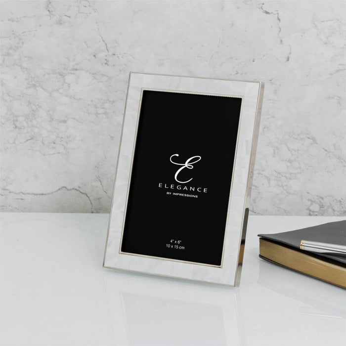 Elegance By Impressions Nickel & Mother of Pearl Premium Photo Frame with Gift Box