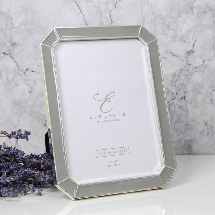 Elegance by Impressions Silver Plated Scalloped Grey Epoxy Photo Frame