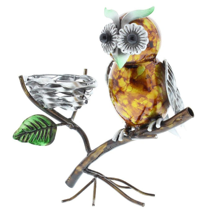 Country Living Hand Painted Metal Owl Tealight Holder