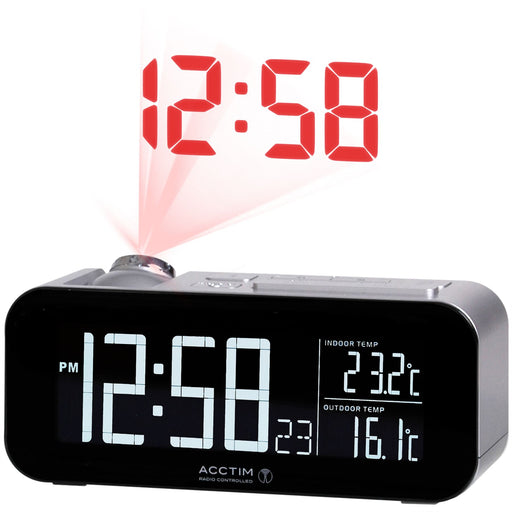 Acctim Colton Silver Projector Alarm Clock