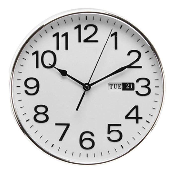 Wm.Widdop Chrome Wall Clock - Day/Date Arabic Numbers