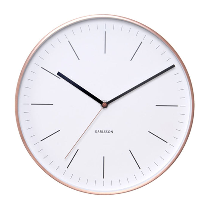 Karlsson Minimal Copper Or Gold Case Silent 27.5cm Wall Clock