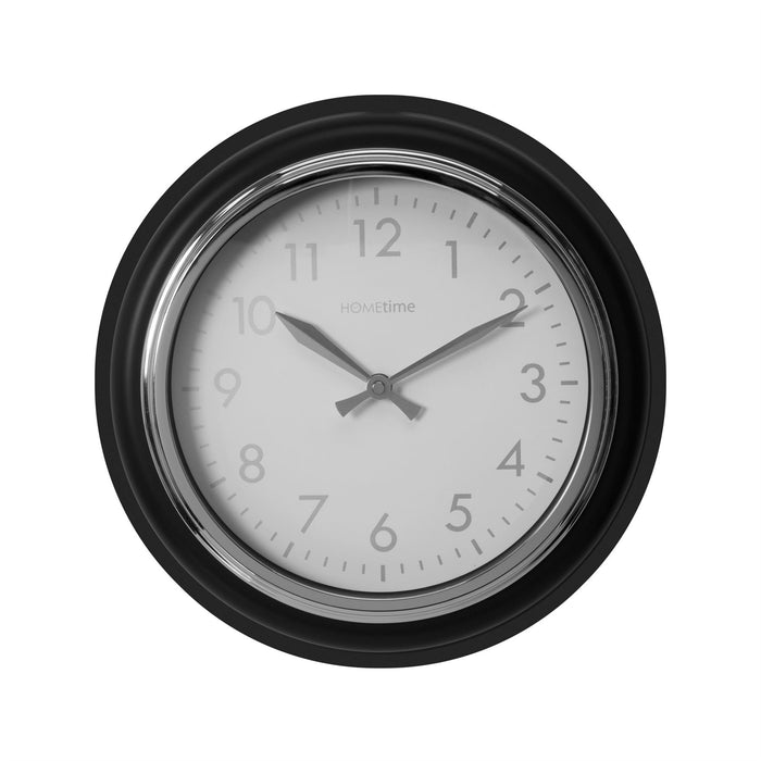 Hometime 32cm Retro Grey & Silver Wall Clock