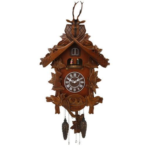 Wm. Widdop Wooden Carousel Stag Large Cuckoo Clock