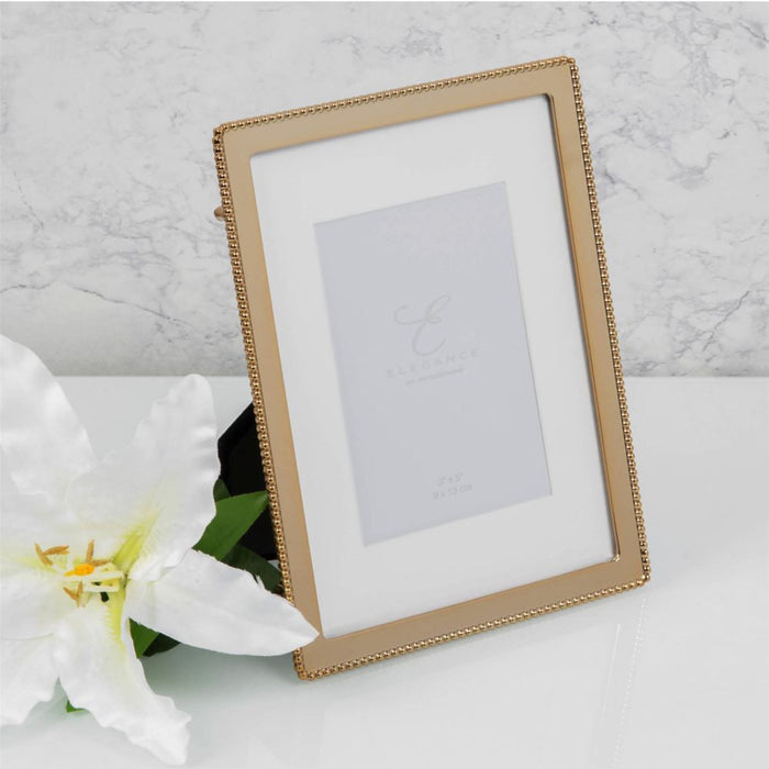 Elegance By Impressions Gold Finish Beaded Premium Premium Photo Frame with Gift Box