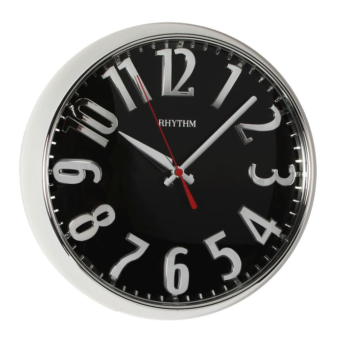 Rhythm Round Plastic 3D Numbers Silver Case Wall Clock