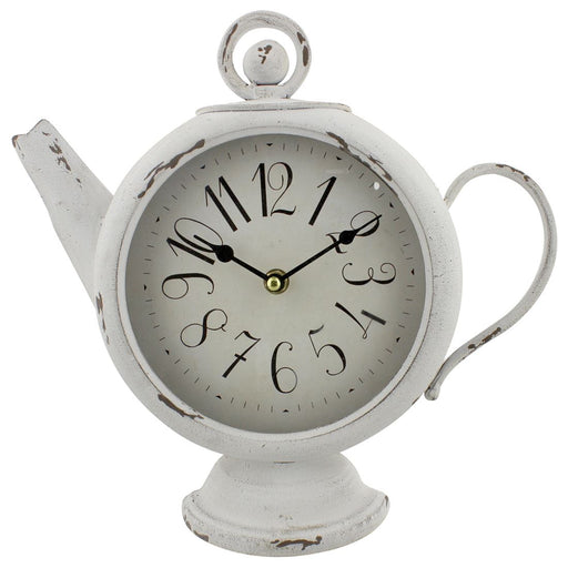 Hometime Cream Metal Tea Pot Clock