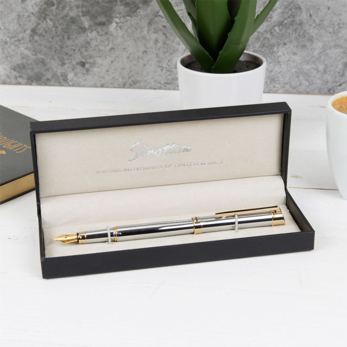 Stratton Silver & Gold Fountain Pen with Gift Box