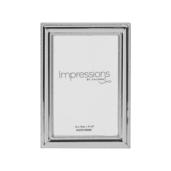 Impressions By Juliana Silverplated Bead Edge & Insert Photo Frame
