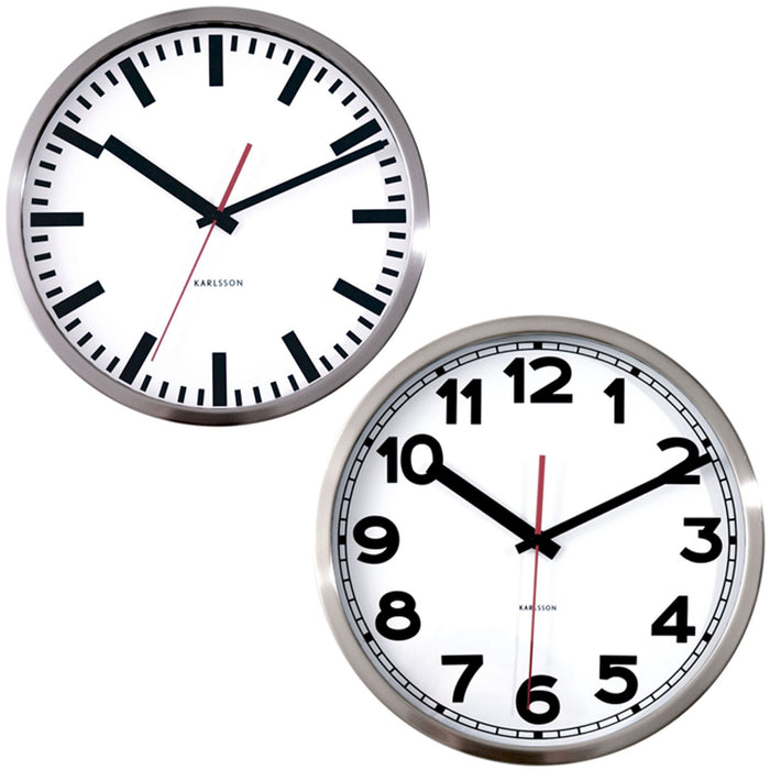 Karlsson Station Polished Steel & White 29cm Wall Clock