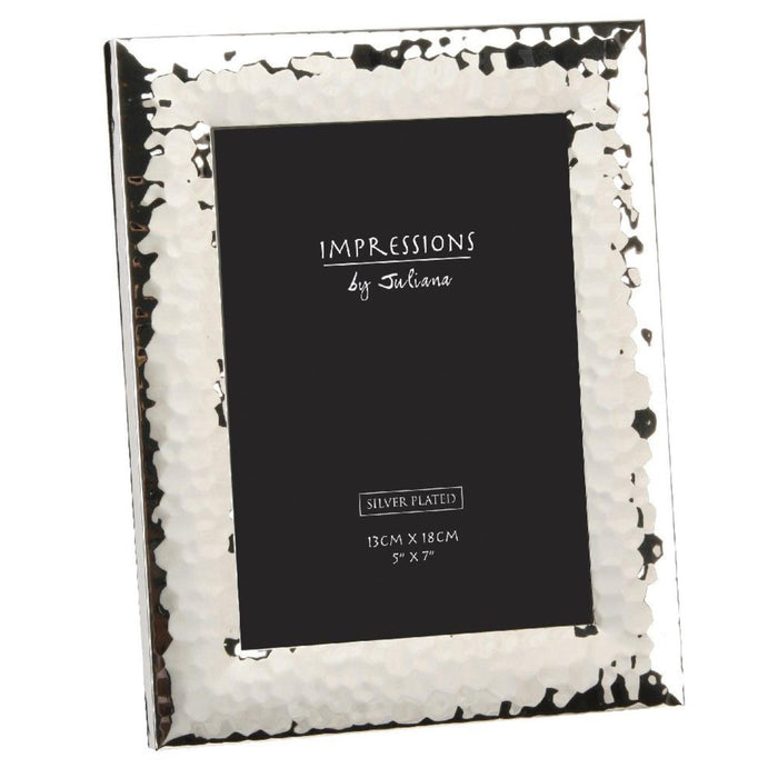 Impressions Silver Hammered Photo Frame with Gift Box