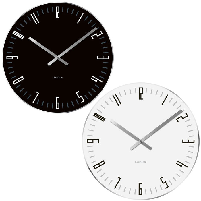 Karlsson Wall Clock Glass Slim Index 17cm Wall or Shelf Clock