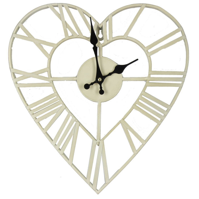 Hometime White Heart 36cm Wall Clock