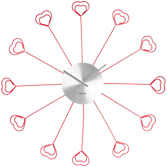 Wanted Heart Clip Red & Silver 37cm Wall Clock