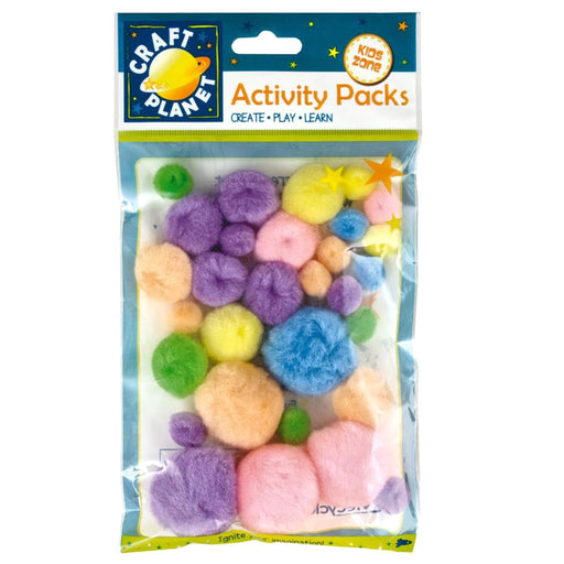 Craft Planet Assorted Colours Pastel Pompoms Pack of 30
