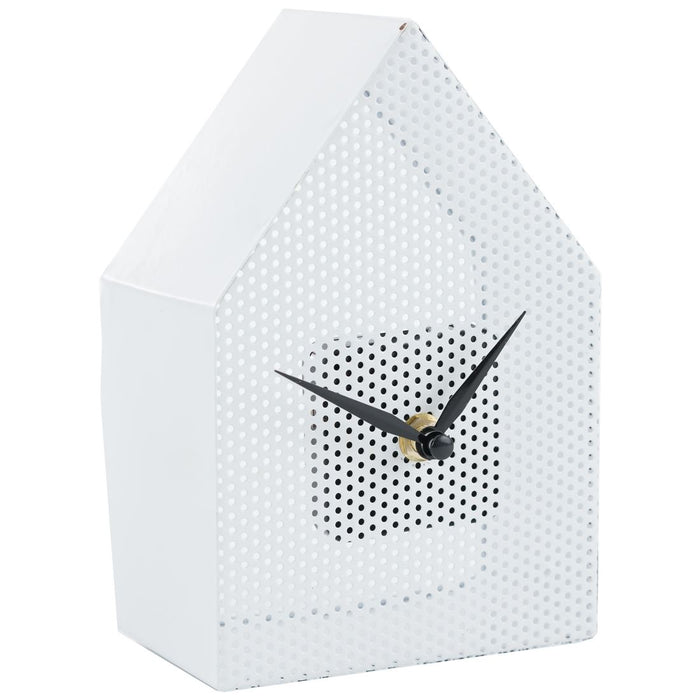 Present Time Metal Mesh House 18cm Table / Shelf Clock