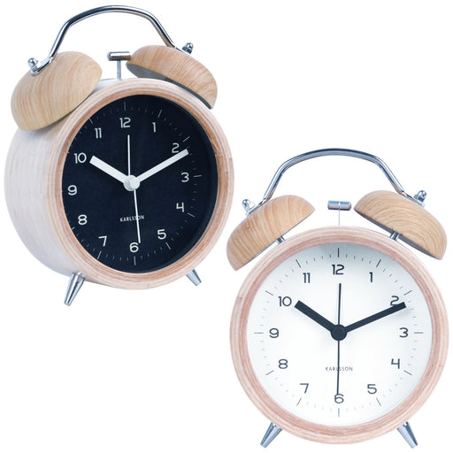 Karlsson Classic Bell Wood Silent Alarm Clock