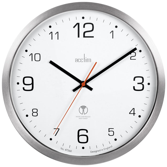 Acctim Atomik Titanium White Radio Controlled 30cm Wall Clock