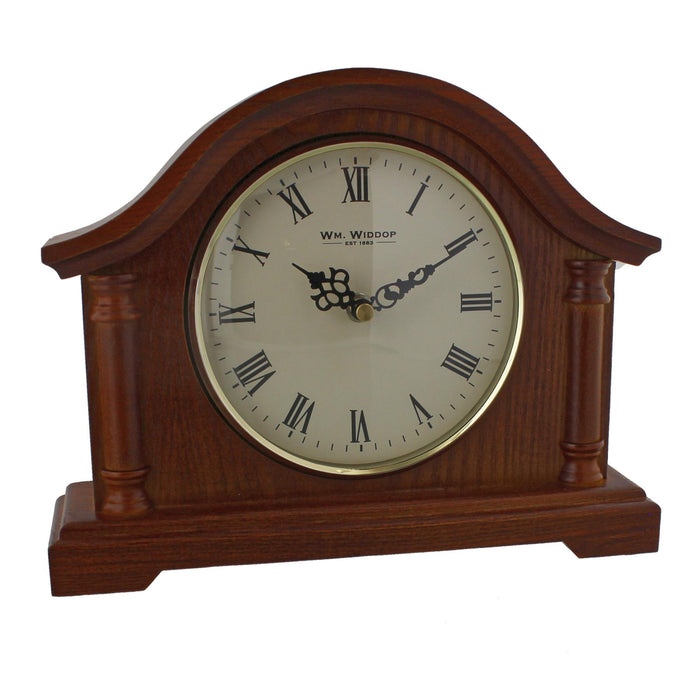 Wm.Widdop Walnut Effect Broken Arch Mantel Clock