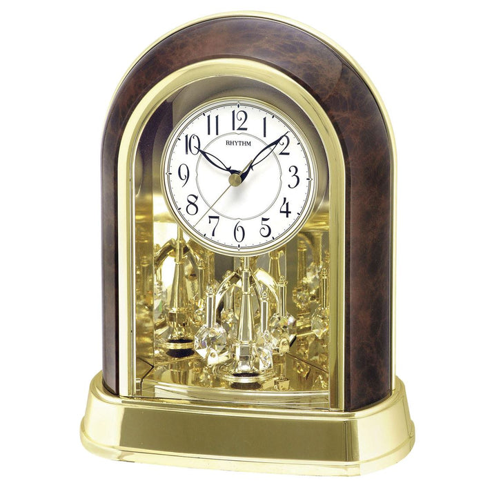 Rhythm Contemporary Wood Effect Swarovski Pendulum Arched Case Mantel Clock