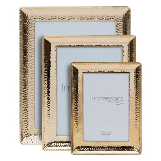 Impressions Gold Finish Hammered Metal Photo Frame