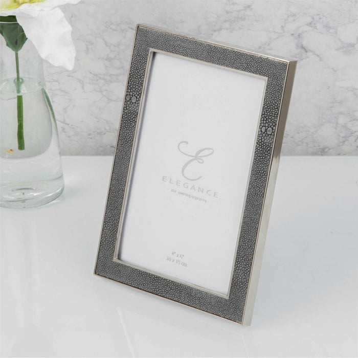 Elegance By Impressions Nickel Plated Grey Faux Shagreen Premium Photo Frame with Gift Box