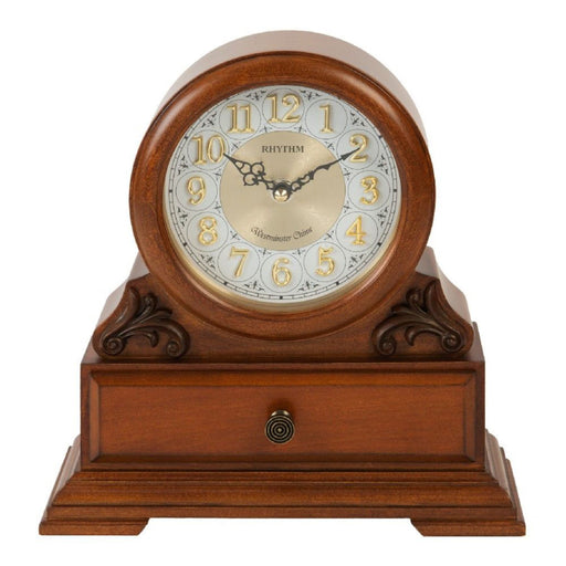 Rhythm Wooden Chiming Mantel Clock with Drawer