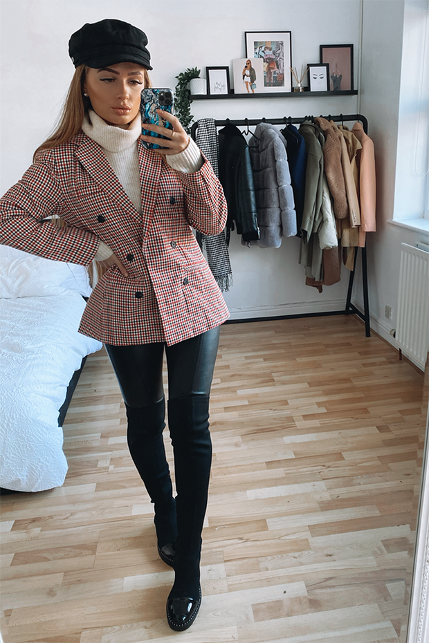 Estee Red Gingham Blazer