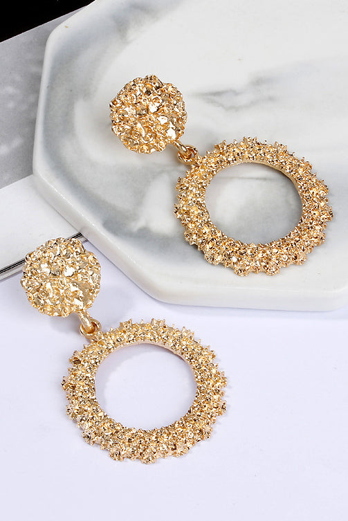 Aurora Mini Gold Circle Textured Earrings