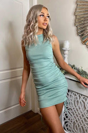 Clemmie Sage Ribbed Ruched Dress