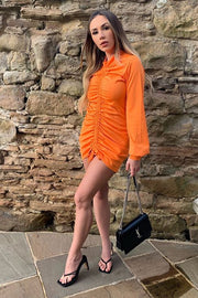 Iola Orange Ruched Mini Dress