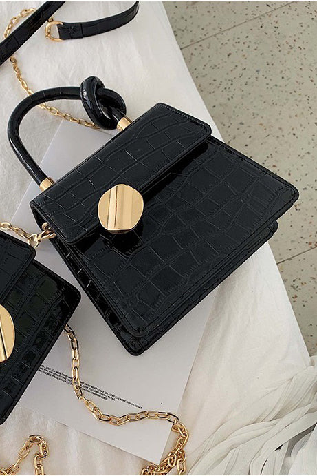 Camilla Black Faux Croc Bag
