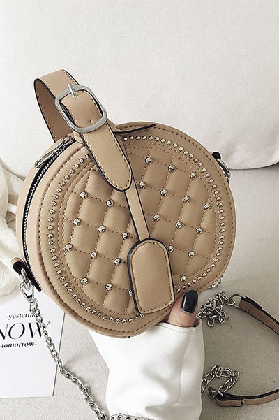 Emilia Nude Circle Studded Bag