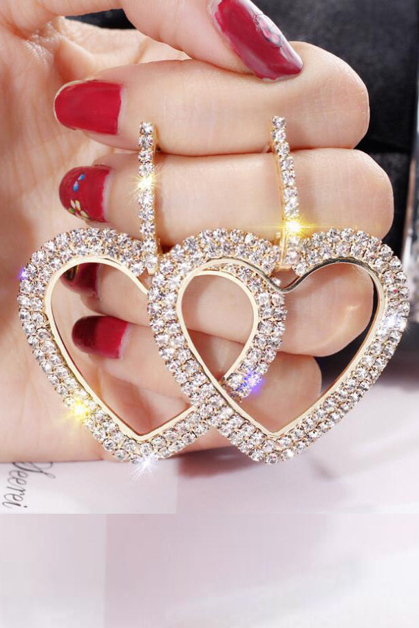 Gracie Diamante Heart Drop Earrings