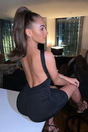 Kenna Black Backless Bodycon Dress