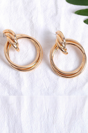 Gabby Gold Circle Twist Drop Earrings