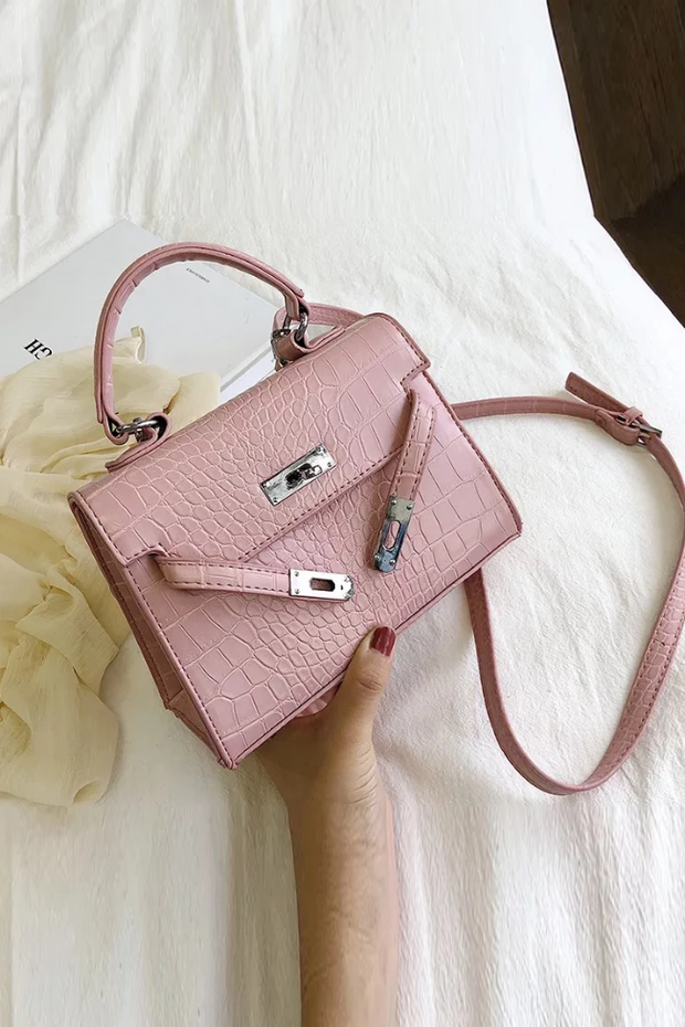 Lauryn Pink Faux Croc Bag