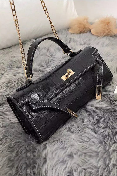Sarah Black Faux Croc Purse Bag