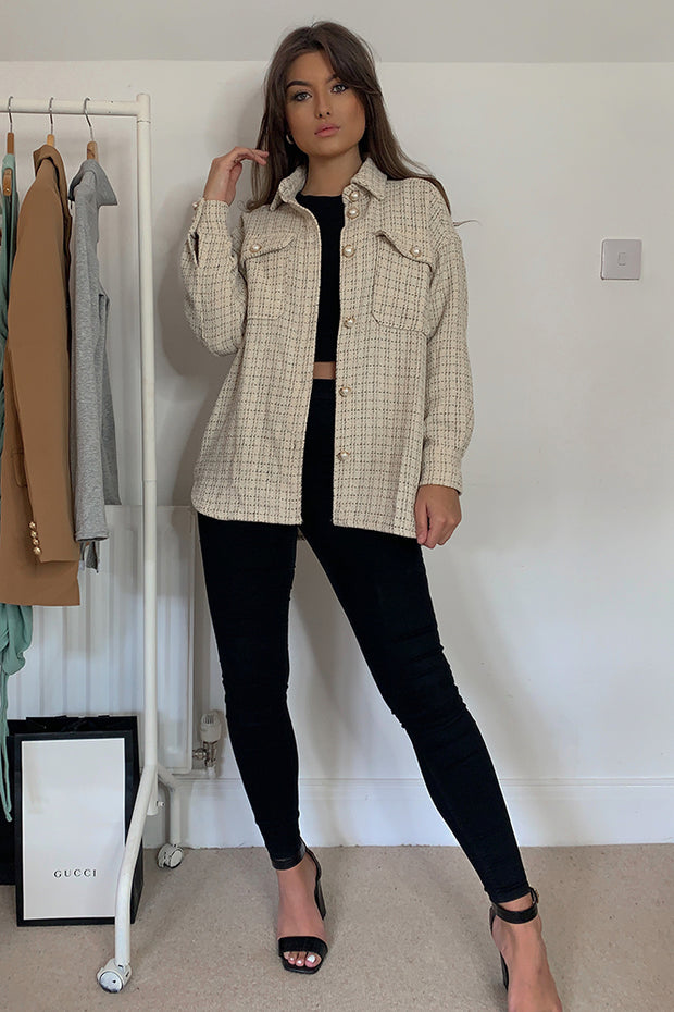 Arianna Nude Check Shacket