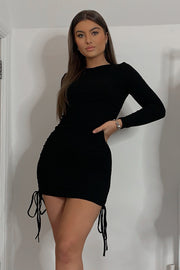 Ariella Black Ribbed Ruched Dress