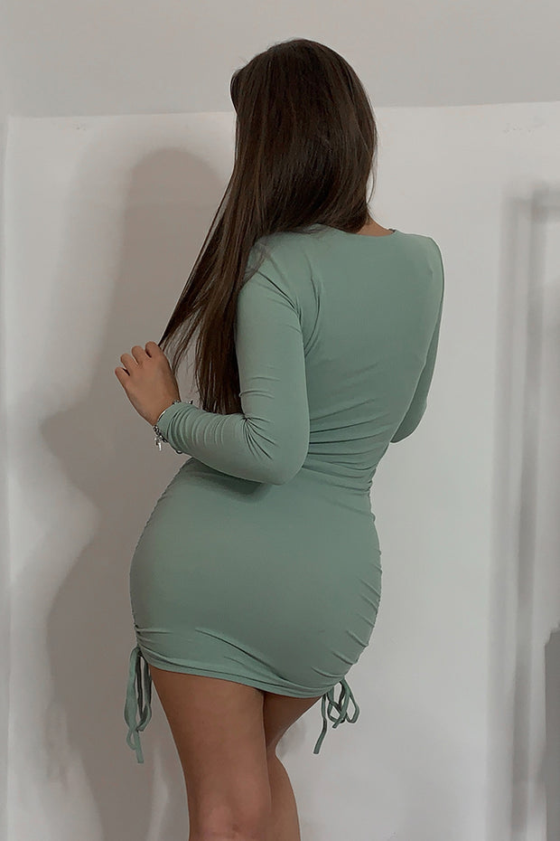 Ariella Sage Ribbed Ruched Dress