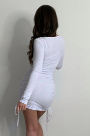Ariella White Ribbed Ruched Dress