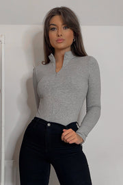 Fern Grey Zip Bodysuit